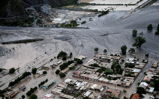 Maalihest tekkinud mudatulvad Volcano külas Argentinas