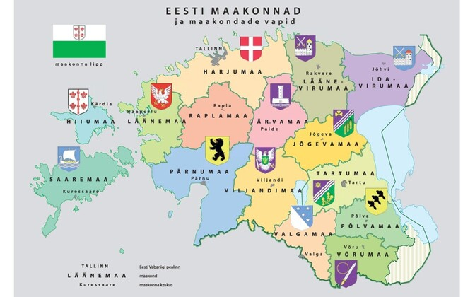 A map of Estonian counties.