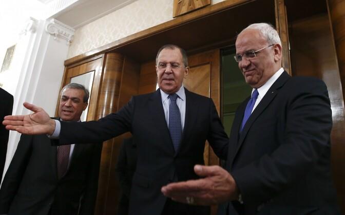 Vene välisminister Sergei Lavrov ja Palestiina Vabastusorganisatsiooni (PLO) liige Saeb Erekat.