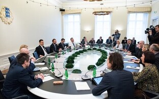 At a government meeting, Stenbock House, Tallinn.