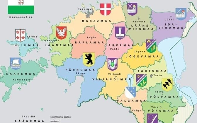 Map of Estonia's counties.