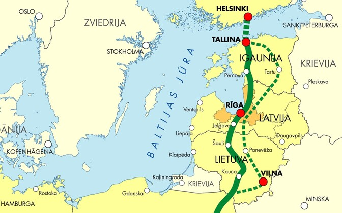 Planned route of the Rail Baltic project.