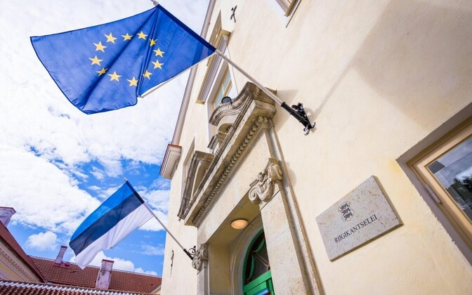 The flags of Estonia and the EU outside of the Government Office in Tallinn.
