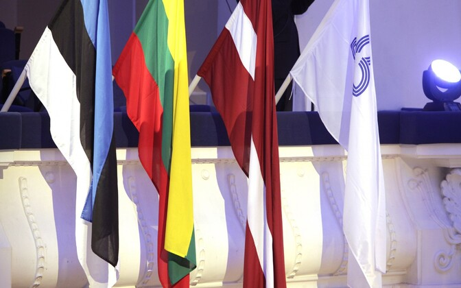 Flags of Estonia, Latvia, Lithuania and the Baltic Assembly.