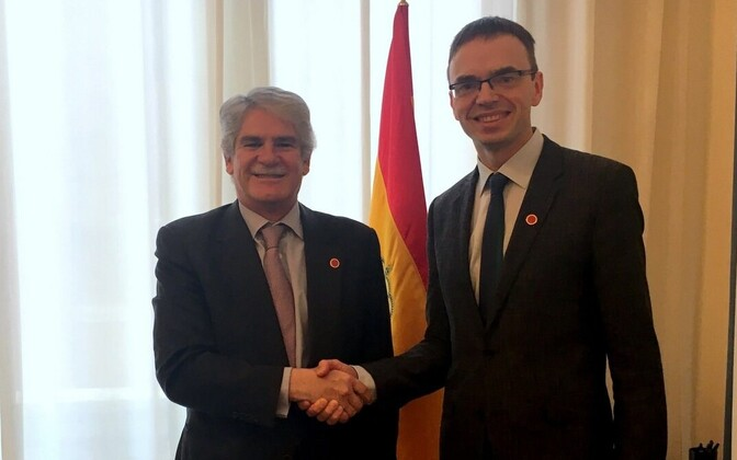 Estonian Minister of Foreign Affairs Sven Mikser with Spanish Minister of Foreign Affairs Alfonso Dastis (left) and Portuguese Minister of Foreign Affairs Augusto Santos Silva (right).