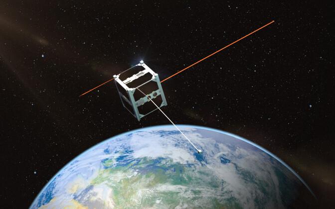 Kunstniku nägemus Eesti esimesest tudengisatelliidist ESTCube-1 Maa orbiidil.