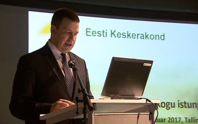 Prime Minister Jüri Ratas (Center) at his party's council meeting, Jan. 28, 2017.