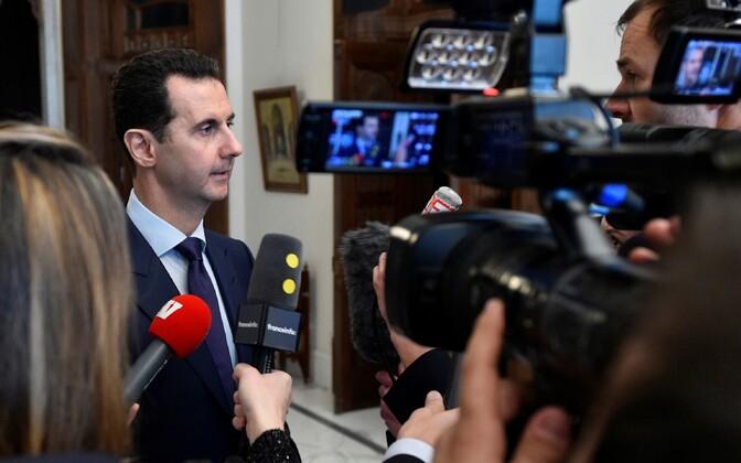 Süüria president Bashar al-Assad 9. jaanuaril Damaskuses Prantsuse ajakirjanikega.
