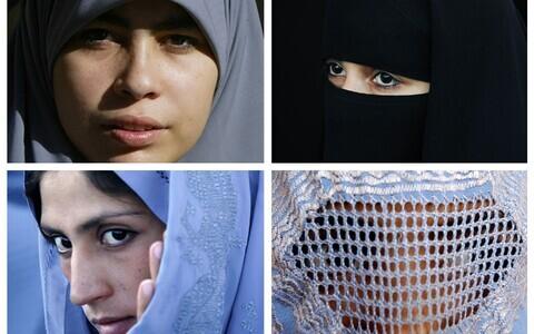 Hidžab (üleval vasakul), nikaab (üleval paremal), tšador (all vasakul) ja burka (all paremal).