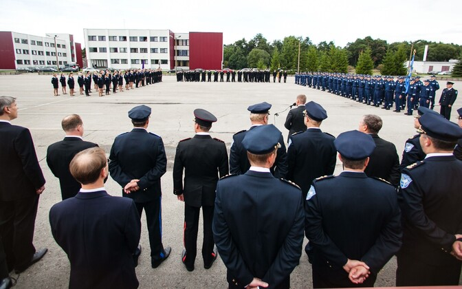 Cadets and officials at the Estonian Academy of Security Sciences (SKA).