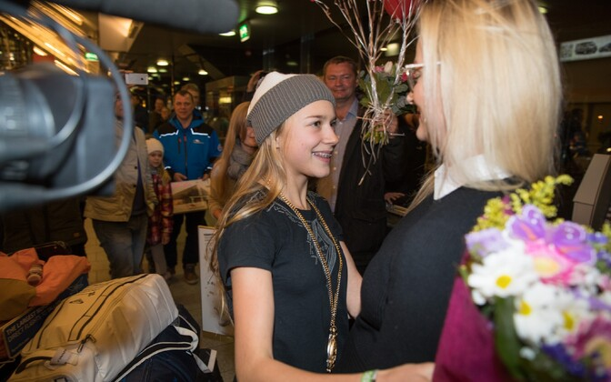 Kelly Sildaru returns to Tallinn Airport during the early hours of Feb. 1, 2017.