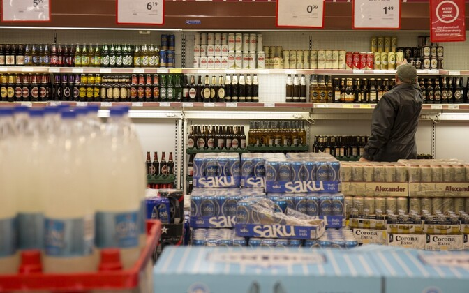 Beer and other low-ABV alcoholic beverages for sale in a large supermarket chain.