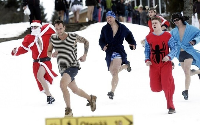 Though competing bare-bummed is an option, participants often go for flashy costumes. At the 2015 Otepää Sauna Marathon