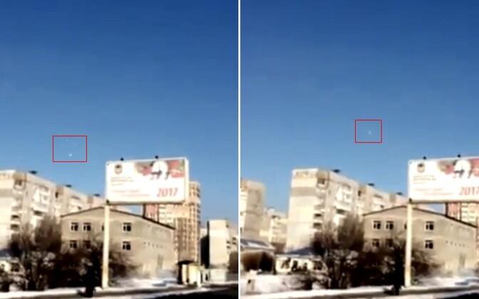 Bellingcati foto Donetski linnast ja majade vahelt lendavast raketist.