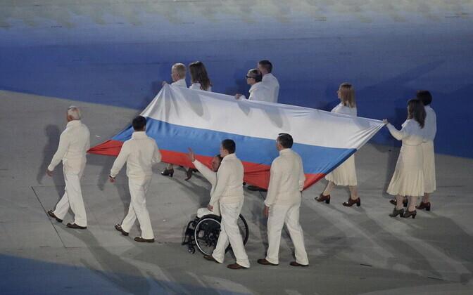 Venemaa sportlased oma riigilipuga