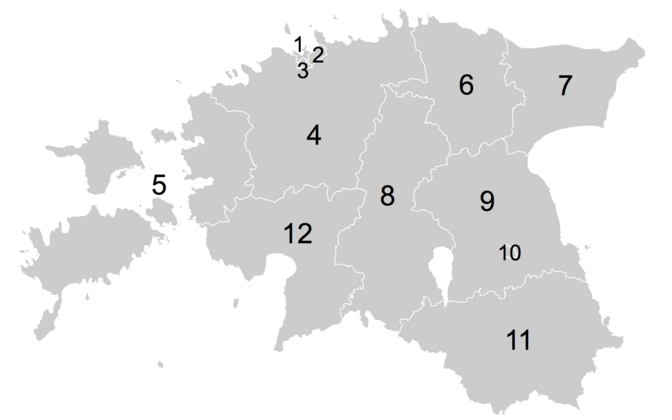 Estonia's electoral districts at the beginning of administrative reform in 2016. 1-3: Tallinn, 4: Harju and Rapla County, 5: Hiiu, Lääne, and Saare County, 6: Lääne-Viru County, 7: Ida-Viru County, 8: Järva and Viljandi County, 9: Jõgeva and Tartu County,