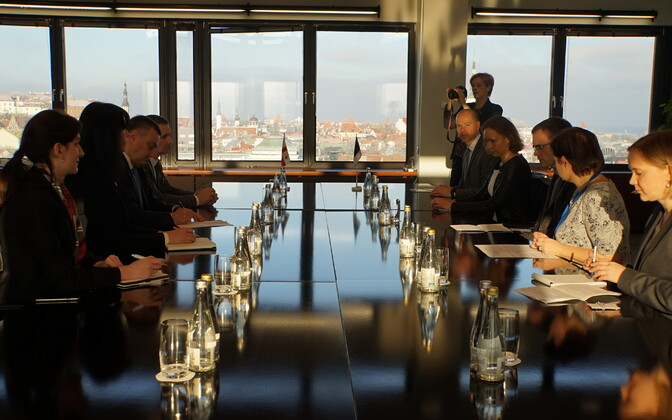 State Minister of Georgia on European and Euro-Atlantic Integration Victor Dolidze at his meeting with Estonian Minister of Foreign Affairs Sven Mikser in Tallinn on Friday. Feb. 10,  2017.
