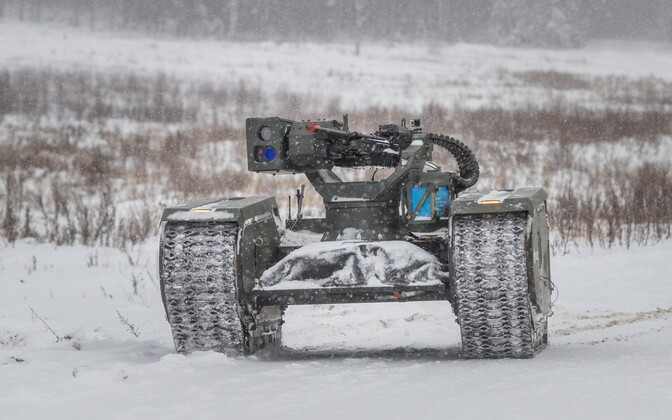 Estonian defense contractor Milrem's unmanned mobile platform during a demonstration at the EDF's Tapa training ground.
