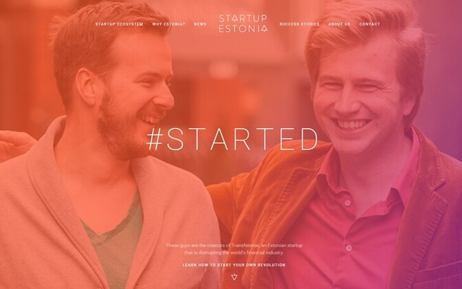 Homepage of the Startup Estonia website.