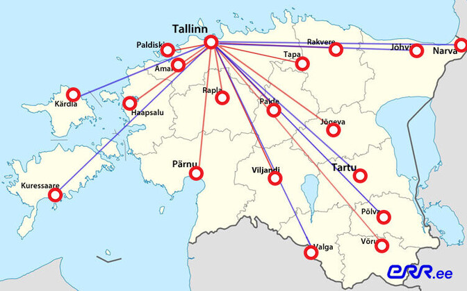 Map of Estonian towns and cities to which the government plans to partially or entirely relocate some state agencies.