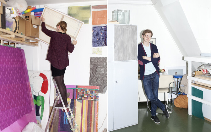 Kristi Kongi in her studio (left); Jaanus Samma in his (right).