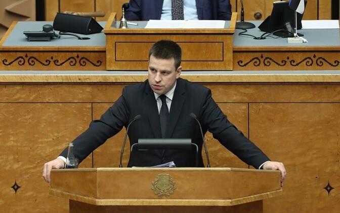 Prime Minister Jüri Ratas speaking in the Riigikogu.
