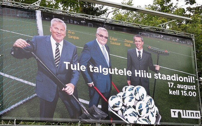 A 2013 advertisement for a cleanup day at Tallinn's Hiiu Stadium depicting Center Party members Arvo Sarapuu, Edgar Savisaar and Jaanus Mutli.