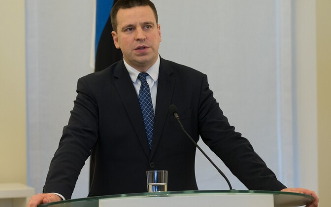 Prime Minister Jüri Ratas (pictured) at a press conference in Tallinn together with U.S. Sen. John McCain, R-Ariz. Dec. 27, 2016.