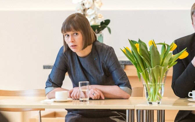 President Kersti Kaljulaid at a meeting with Pärnu municipal leaders. Feb. 2, 2017.