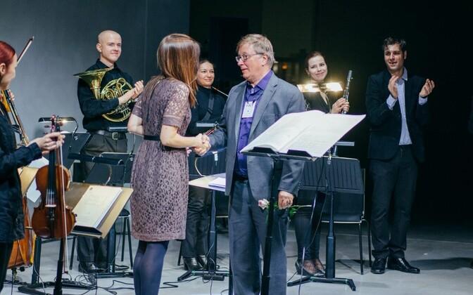 """Kädy Plaas ja Georg Friedrich Haas pärast """"ATTHISE"""" ettekannet ERMis 20. oktoobril 2016"""