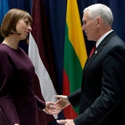 President Kersti Kaljulaid and U.S. Vice President Mike Pence in Munich.