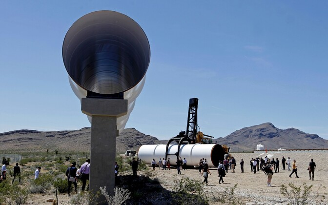 Hyperloop tubes are displayed during the first test of the propulsion system at the Hyperloop One Test and Safety site on May 11, 2016 in Las Vegas, Nevada.