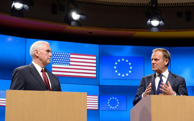 USA asepresident Mike Pence Brüsselis ühisel pressikonverentsil Euroopa Ülemkogu eesistuja Donald Tuskiga.