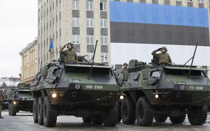 Armored vehicles taking part in the Independence Day military parade, pictured in Tallinn's Freedom Square. Feb. 24, 2016.