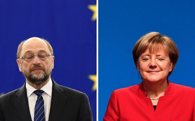 SPD kandidaat Martin Schulz ja konservatiivide liider Angela Merkel.