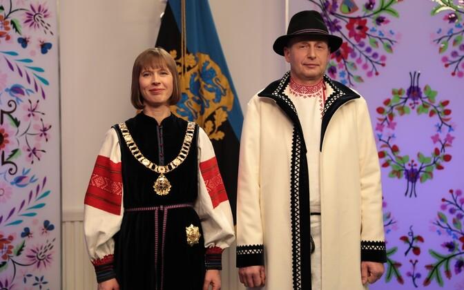 President Kersti Kaljulaid with her husband, Georgi-Rene Maksimovski, Feb. 24, 2017.