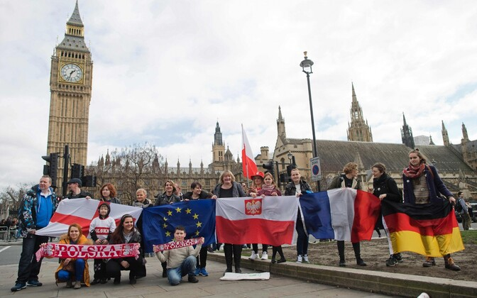 Акция протеста в поддержку мигрантов в Великобритании.
