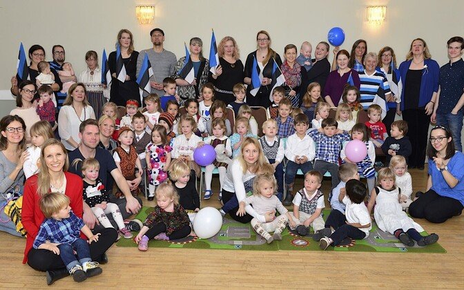 Children of the Estonian diaspora celebrating Estonian Independence Day in Toronto. February 2017.