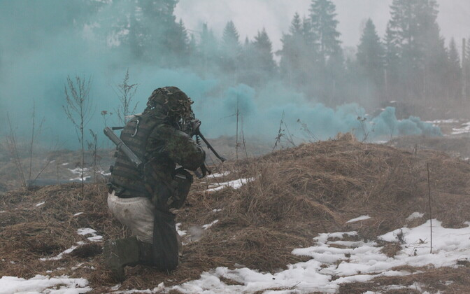 US troops, Estonian conscripts and the Scouts Battalion participating in a battle at Winter Camp. March 1, 2017.