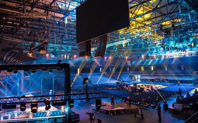 Подготовка к конкурсу Eesti Laul в концертном комплексе Saku Suurhall.