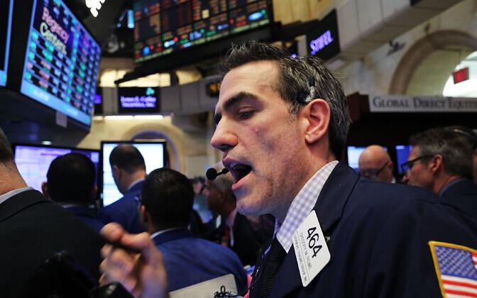NYSE kauplejad pärast Dow uue rekordi saavutamist.