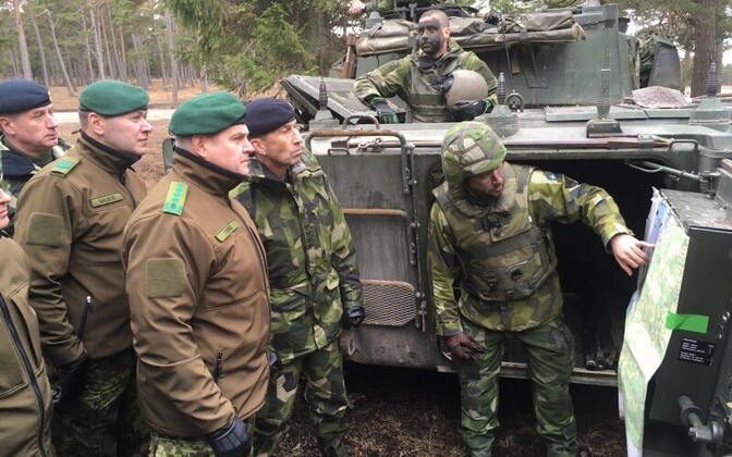 Gen. Riho Terras (center) on Gotland, March 2017.