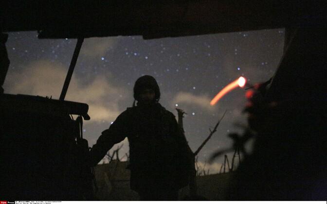 A Ukrainian soldier in a trench in Avdiivka, Eastern Ukraine.