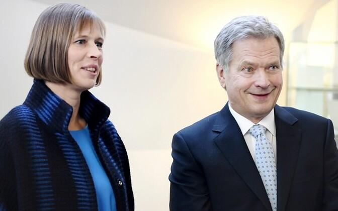 Presidents Kaljulaid and Niinistö in Helsinki, 2016.