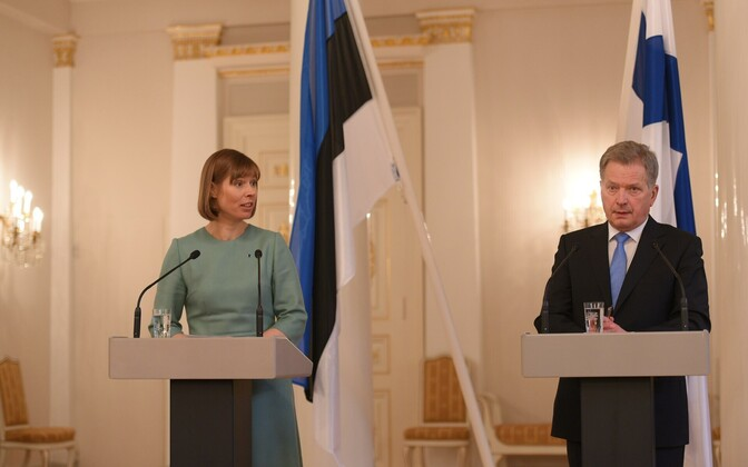 Presidents Kaljulaid and Niinistö at their joint press conference, Helsinki, Mar. 7, 2017.