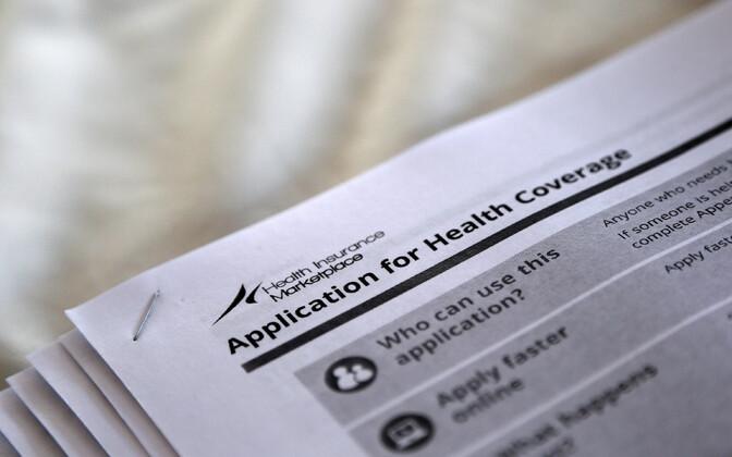 Obamacare'ina tuntud tervisekindlustuse taotluse dokumendid.
