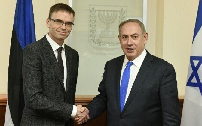 Foreign Minister Sven Mikser with Prime Minister Benjamin Netanyahu.