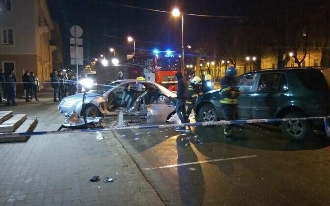 Авария на улице Пушкина в Нарве.