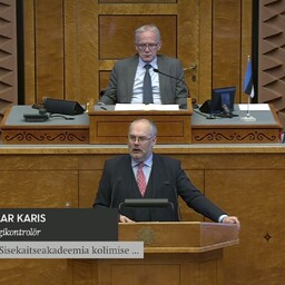 Alar Karis speaking in the Riigikogu, Mar. 13, 2017.