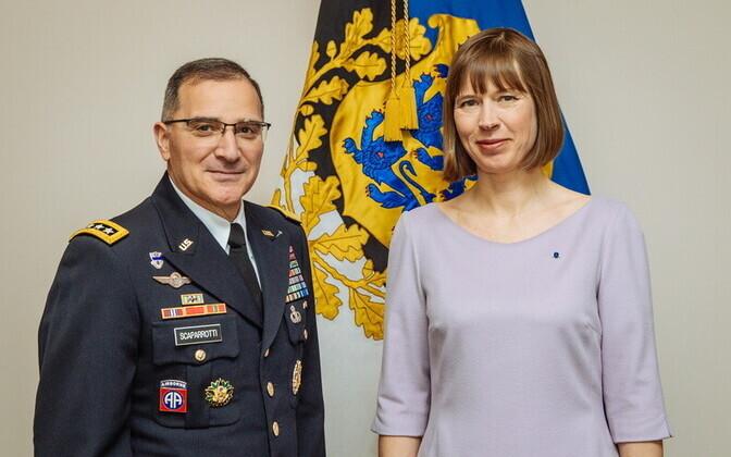 Gen. Curtis Scaparrotti and President Kersti Kaljulaid in Tallinn, Mar. 14, 2017.